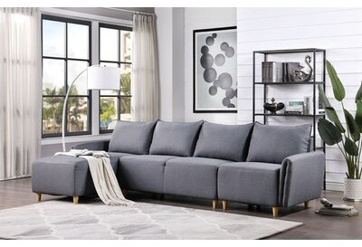 Corrigan Studio Ellise 123 Wide Reversible Modular Sofa Chaise Fabric Gray Polyester Shopstyle Living Room Chairs