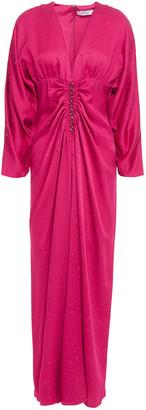 Racil Rita Ruched Leopard-jacquard Midi Dress