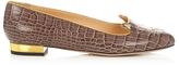 Charlotte Olympia Kitty crocodile-effect leather flats