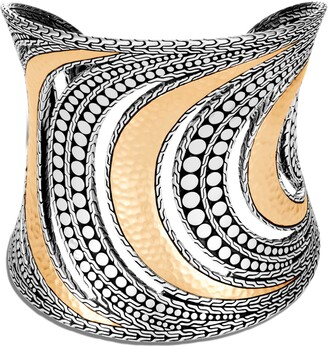 John Hardy Dot Hammered 18K Gold & Silver Extra Large Cuff