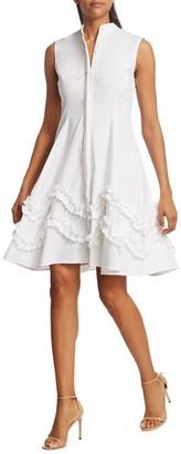 Lela Rose Sleeveless Ruffle Stretch-Cotton Shirtdress