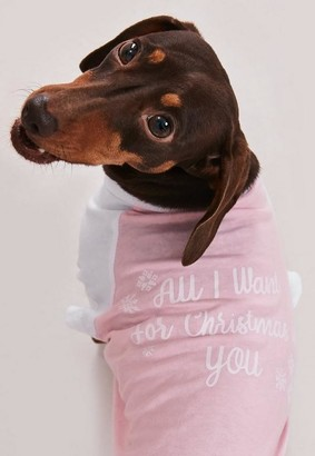 Missguided Sleeve Christmas Dog T Shirt