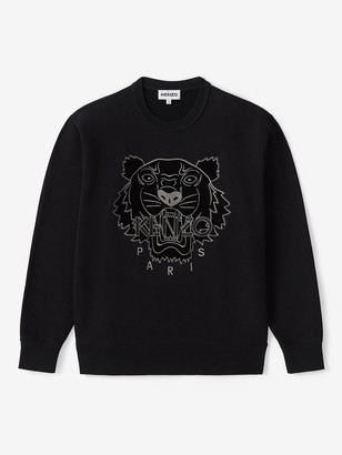 Kenzo Velvet Tiger Head Embroidered Crew Neck Sweatshirt - Black