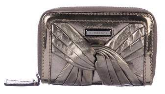 Burberry Metallic Leather Compact Wallet
