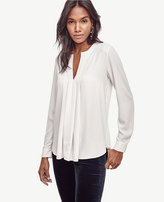 Ann Taylor Pleated Mixed Media Popover