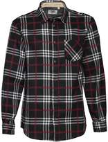 Kangaroo Poo Mens Printed Check Long Sleeve Shirt Black/Red/White