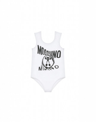 Moschino Double Question Mark Fleece One-piece Swimsuit Woman White Size 4a