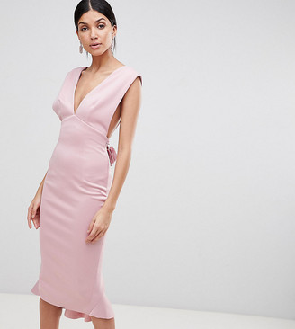 Asos TALL Deep Plunge Corsage Back Pephem Midi Bodycon Dress