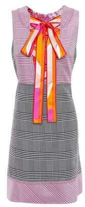 Emilio Pucci Lace-up Prince Of Wales Checked Jacquard Mini Dress