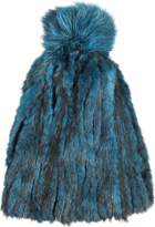 Yves Salomon Mink knitted fur beanie with fox fur pompon