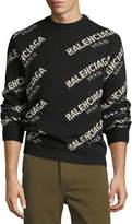 Balenciaga Logo Knit Jacquard Sweater
