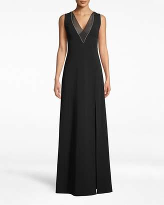 Nicole Miller Structured Heavy Jersey V-neck Slit Gown