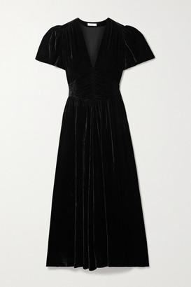 DÔEN Tuileries Ruched Velvet Maxi Dress