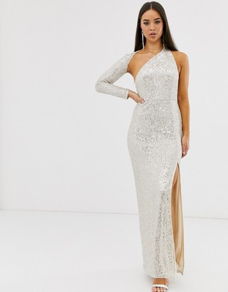 Club L London sequin one shoulder maxi dress