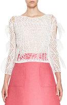 DELPOZO Bow-Sleeve Open-Knit Top, White