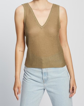 Mng Women's Green Sleeveless Tops - Rafias Top - Size S at The Iconic