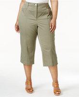 Karen Scott Plus Size Button-Hem Capri Pants, Only at Macy's