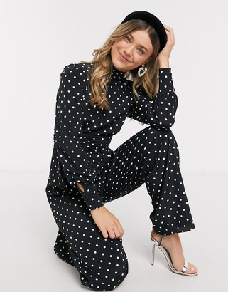 ASOS DESIGN high neck ruched waist tea jumpsuit in spot print