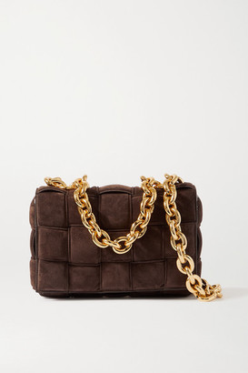 Bottega Veneta Cassette Chain-embellished Padded Intrecciato Suede Shoulder Bag - Dark brown