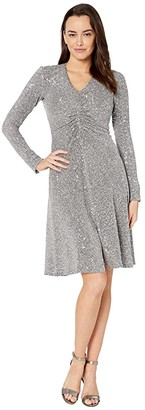 Donna Morgan Textured Metallic Stretch Knit Long Sleeve Ruched Side Midi Dress