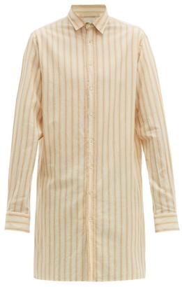 Arjé Arje - The Tobias Longline Striped-cotton Shirt - Beige Multi