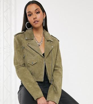 Asos DESIGN Tall suede biker jacket in olive
