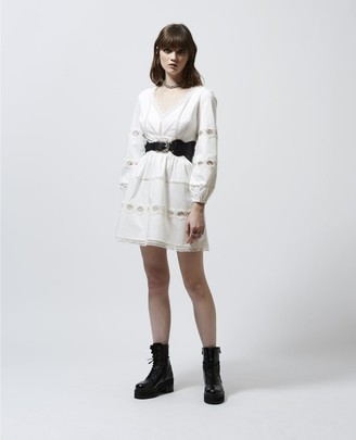 The Kooples White skater dress with lace detailing