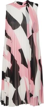 Wallis Pink Colourblock Tie Neck Pleated Shift Dress