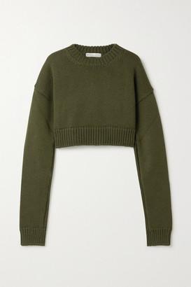 Bottega Veneta Cropped Knitted Sweater - Army green