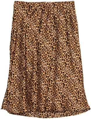 On Leopard Print Pull Side Slit Midi Skirt (Plus Size)