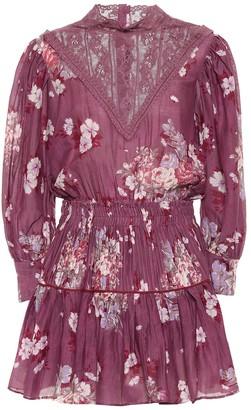 LoveShackFancy Viola floral cotton-blend minidress