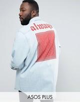 Asos PLUS Overshirt In Denim With Back Print