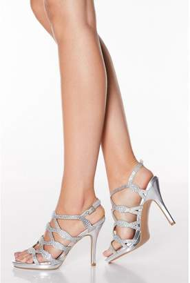 Quiz Silver Shimmer Diamante Stud High Heel Sandals