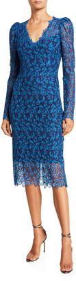 Monique Lhuillier Guipure-Lace Midi Dress