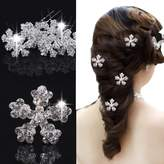 Missgrace Exquisite Snowflake Hair Pins Wedding Prom Bridal Crystal Rhinestone Hair Clips