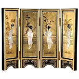Oriental Furniture Unique Chinese Graduation Gift for Her, 18-Inch Lacquer Table Top Screen with Carved Ladies