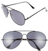 BP Women's 65Mm Oversize Aviator Sunglasses - Black/ Black
