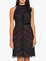 Adrianna Papell Beaded Halterneck Dress, Black/Multi