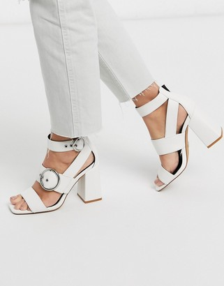 Topshop buckle detail heeled sandals in off white