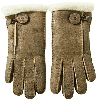 UGG Women's Bomber Brown Leather Gloves M(INT) Brown