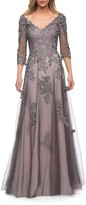 Thumbnail for your product : La Femme V-Neck 3/4-Sleeve Tulle Gown w/ Lace Applique