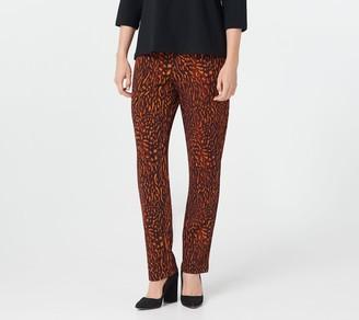 Bob Mackie Petite Nature Texture Straight Leg Pull-On Pants