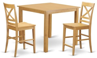 East West Furniture Oak Finish Rubberwood 3-piece Dining Room Pub Set with Counter-height Table and 2 Chairs