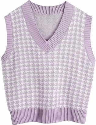 Bbtre Women's Vest Sweater Knitted Oversized Houndstooth V Neck Loose Sleeveless Sweater Waistcoat Chic Tops (Purple L)