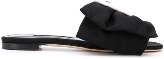 Manolo Blahnik Ruffle Slip-On Sandal