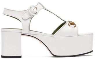 Gucci Houdan Horsebit Leather Platform Sandals - Womens - White