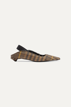 Proenza Schouler Frayed Checked Wool And Linen-blend Slingback Pumps - Brown