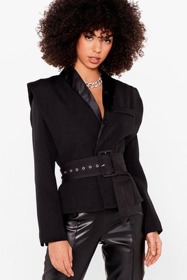 Nasty Gal Womens High Standards Power Shoulder Belted Blazer - Black