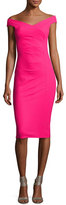 La Petite Robe di Chiara Boni Maureen Ruched Jersey Sheath Dress, Fuchsia