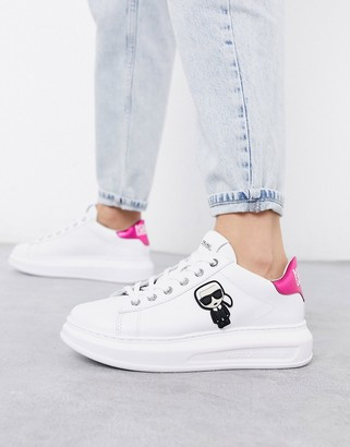 Karl Lagerfeld Paris white leather platform sole trainers with pink trim